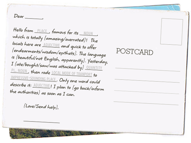 Alex Noble - Writing Journal-2015: Postcards